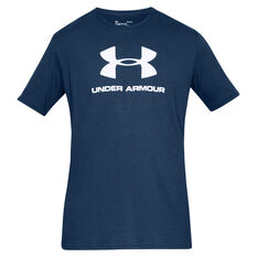Under Armour Mens Sportstyle Logo Tee Blue S, Blue, rebel_hi-res