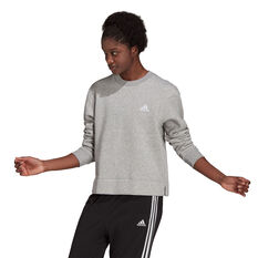 adidas Womens Essentials Small Logo Fleece Cropped Sweatshirt Grey XS, Grey, rebel_hi-res