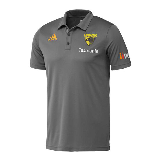 Hawthorn Hawks 2019/20 Mens Travel Polo, Grey, rebel_hi-res