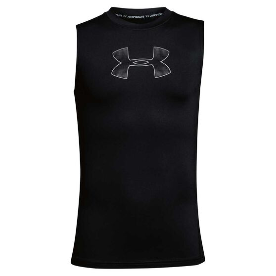 Under Armour Boys Training Singlet, Black / Grey, rebel_hi-res