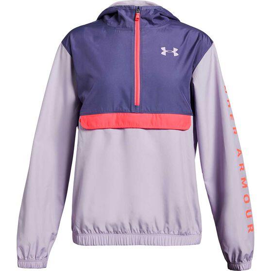 Under Armour Girls Sackpack Half Zip Jacket, Purple, rebel_hi-res