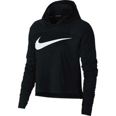 Nike Womens Dry Graphic Running Hoodie Black XS, Black, rebel_hi-res