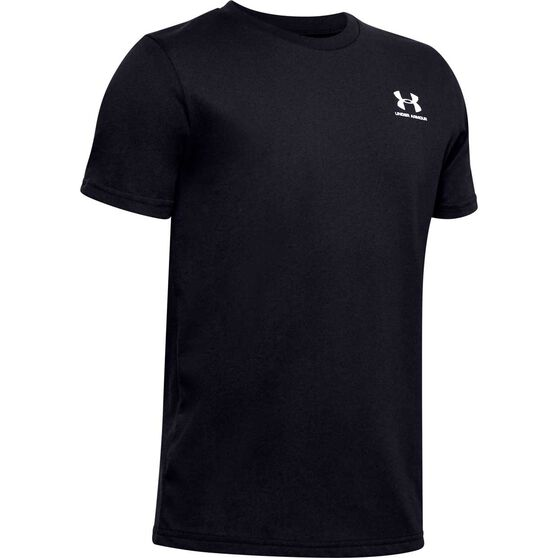 Under Armour Boys Sportstyle Tee, Black / White, rebel_hi-res