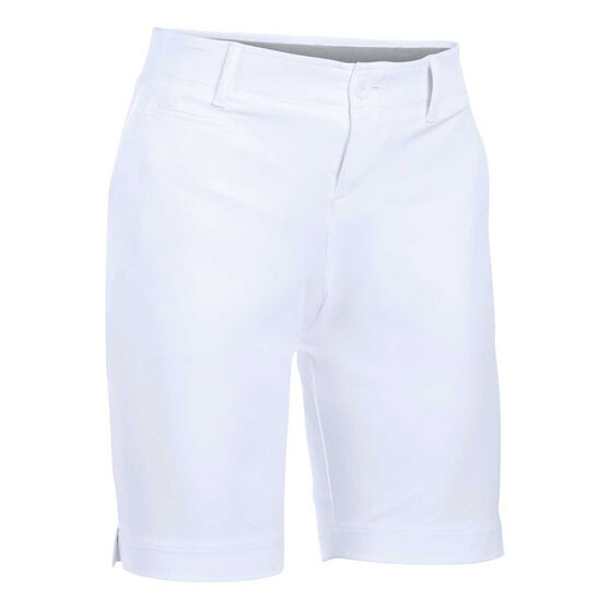 Under Armour Womens Links 9in Golf Shorts, White / Grey, rebel_hi-res