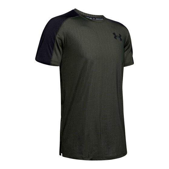 Under Armour Mens MK-1 Emboss Short Sleeve Tee Green S, Green, rebel_hi-res