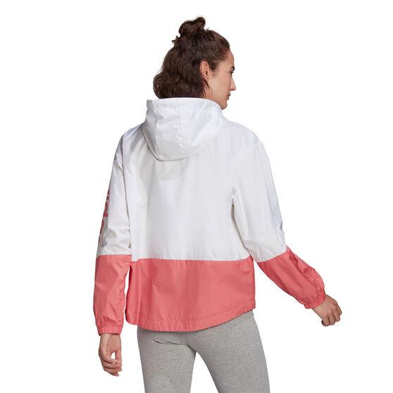 adidas Womens Essentials Logo Windbreaker, White, rebel_hi-res