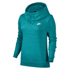 Nike Womens Sportswear Funnel Neck Hoodie Teal XS, Teal, rebel_hi-res