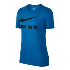 Nike Womens Just Do It Swoosh Tee Blue / Black XS, Blue / Black, rebel_hi-res