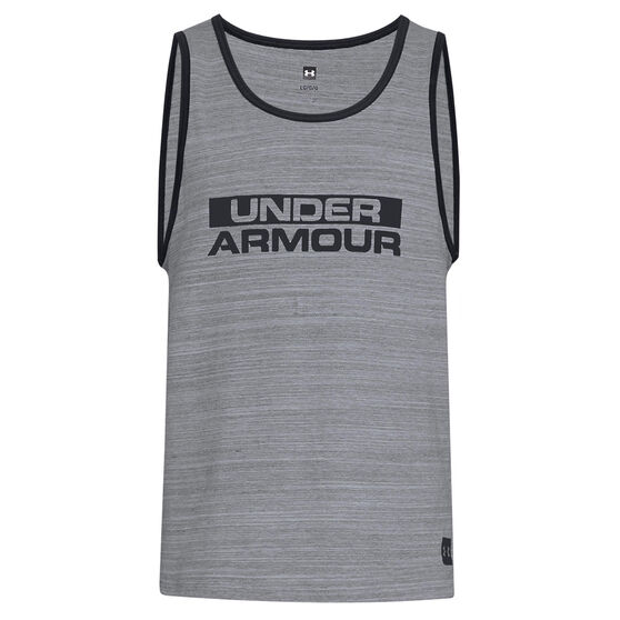 Under Armour Mens Sportstyle Cotton Tank, Grey / Black, rebel_hi-res