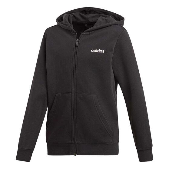 adidas Boys Essentials Linear Full Zip Hoodie, Black / White, rebel_hi-res