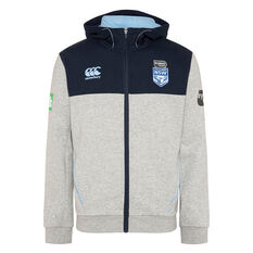 NSW Blues State of Origin 2020 Mens Zip Through Hoodie Grey / Navy S, Grey / Navy, rebel_hi-res