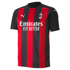AC Milan 2020/21 Mens Home Jersey Red/Black S, Red/Black, rebel_hi-res