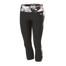 Running Bare Womens Axis 7 / 8th Tights Black 8, Black, rebel_hi-res
