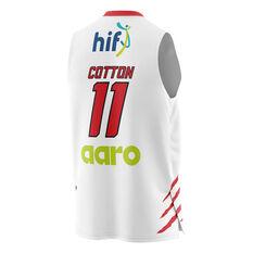 Perth Wildcats Bryce Cotton 20/21 Mens Away Jersey White XS, White, rebel_hi-res