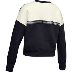 Under Armour Girls Sportstyle Fleece Sweatshirt Black / White XS, Black / White, rebel_hi-res