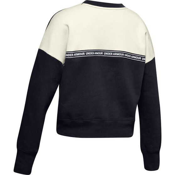 Under Armour Girls Sportstyle Fleece Sweatshirt, Black / White, rebel_hi-res