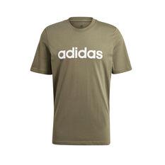 adidas Mens Essentials Linear Logo Tee Green S, Green, rebel_hi-res