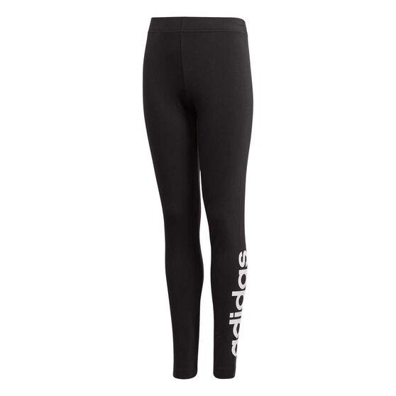 adidas Girls Essentials Linear Training Tights Black / White 8, Black / White, rebel_hi-res