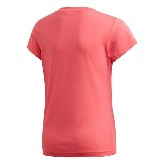 adidas Girls Essential Linear Tee, Pink / White, rebel_hi-res