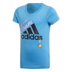 adidas Girls ID Graphic Training Tee Blue / Black 8, Blue / Black, rebel_hi-res