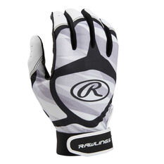 Rawlings Adult Batting Gloves Grey / Black S, Grey / Black, rebel_hi-res