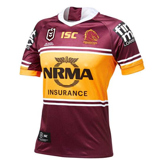 Brisbane Broncos 2019 Mens Home Jersey, Maroon / Yellow, rebel_hi-res