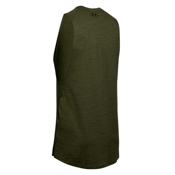 Under Armour Mens Project Rock Charged Cotton Tank, Green, rebel_hi-res