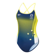 Speedo Womens Tokyo Olympics Replica High Leg X Back One Piece Navy/Yellow 8, Navy/Yellow, rebel_hi-res