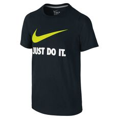 Nike Boys Just Do It Swoosh Tee Black XS, Black, rebel_hi-res