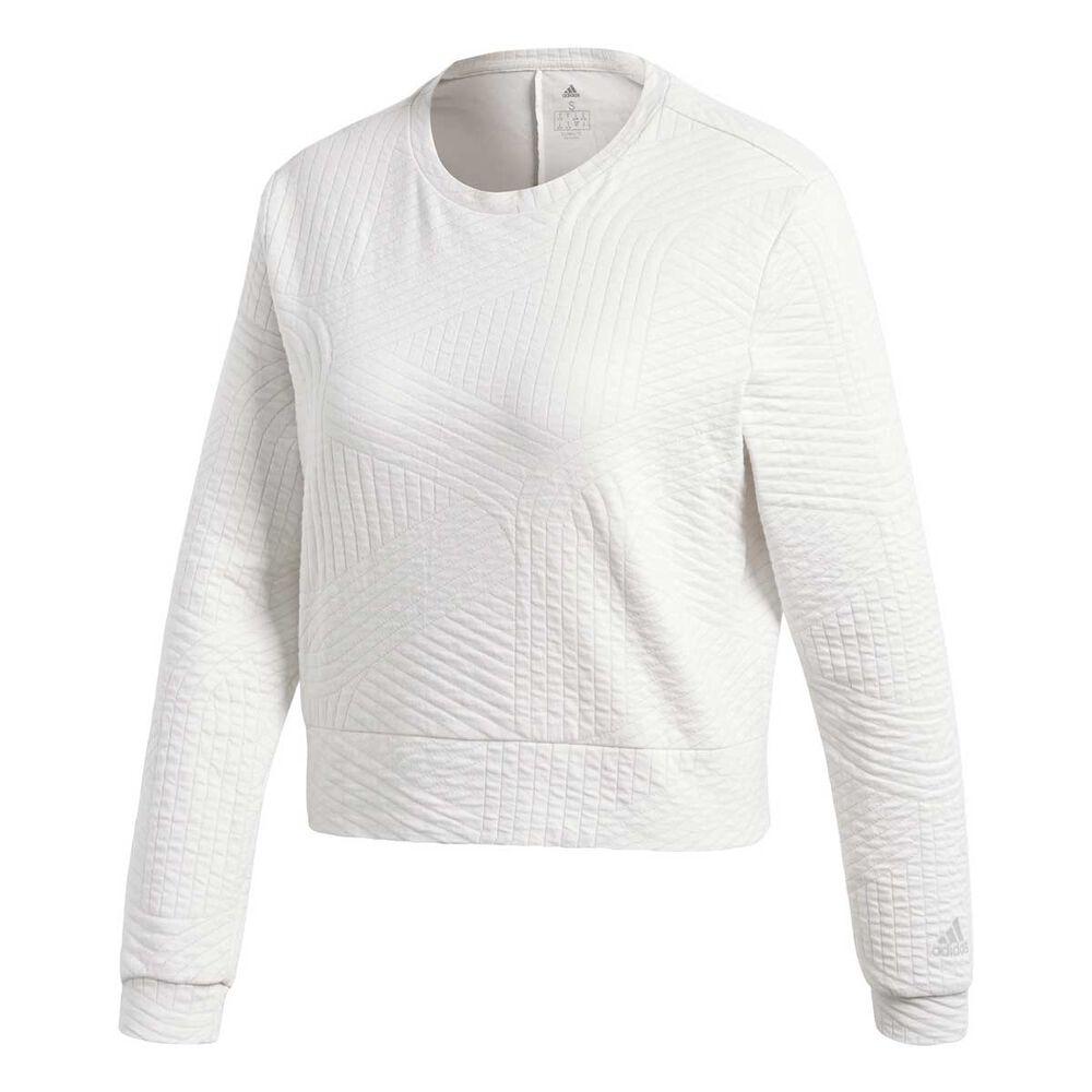 adidas Womens Climalite Performance Sweatshirt White XS Adult ... 6cd47b530f9