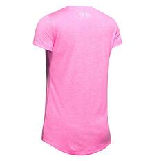 Under Armour Girls Big Logo Twist Tee Pink XS, Pink, rebel_hi-res