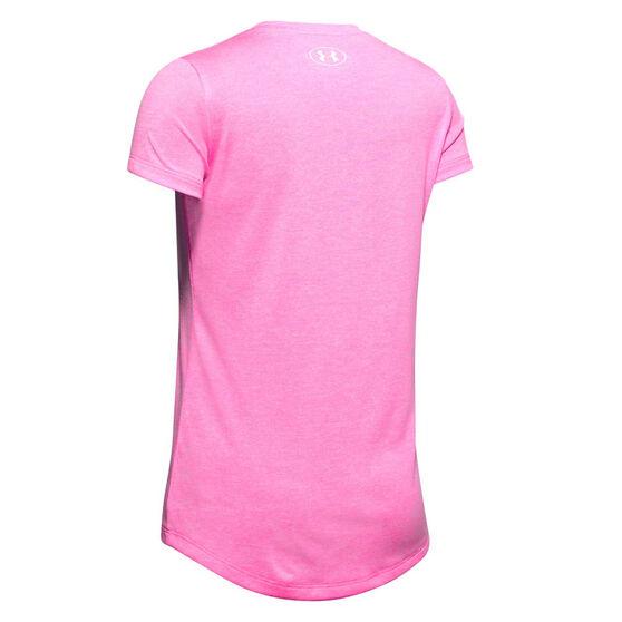 Under Armour Girls Big Logo Twist Tee, Pink, rebel_hi-res