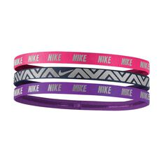 Nike Womens Metallic Hairbands Pink / Blue  OSFA, , rebel_hi-res