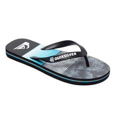 Quiksilver Molokai Slab Kids Thongs Black / Blue US 2, Black / Blue, rebel_hi-res