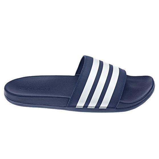 adidas Adilette Comfort Womens Slides, Blue/White, rebel_hi-res