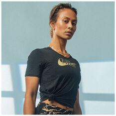 Nike Womens Icon Clash 10K Running Tee Black XS, Black, rebel_hi-res