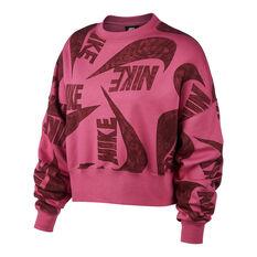 Nike Womens Icon Clash Fleece Sweatshirt Fuchsia XS, , rebel_hi-res