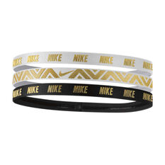 Nike Womens Metallic Hairbands 3 Pack White / Black OSFA, , rebel_hi-res