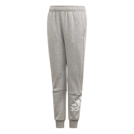 adidas Boys Tapered Pants, Grey / White, rebel_hi-res