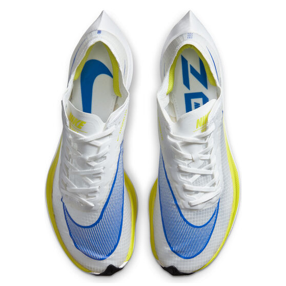 Nike Air ZoomX Vaporfly Next% Mens Running Shoes, White/Blue, rebel_hi-res