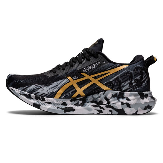 Asics GEL Noosa Tri 13 Womens Running Shoes, Black/Gold, rebel_hi-res