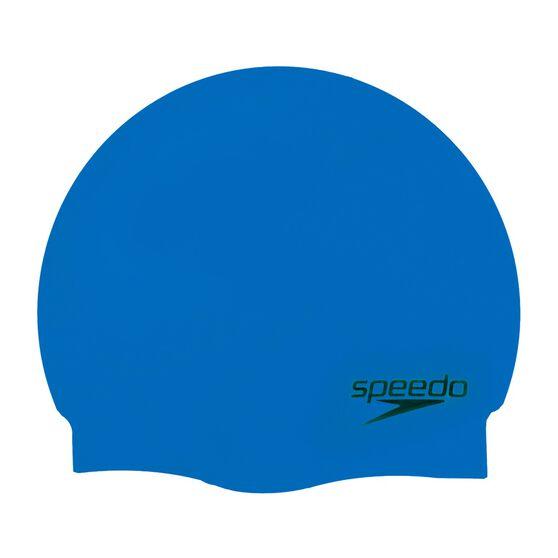 Speedo Plain Moulded Silicone Swim Cap Neon Blue, , rebel_hi-res