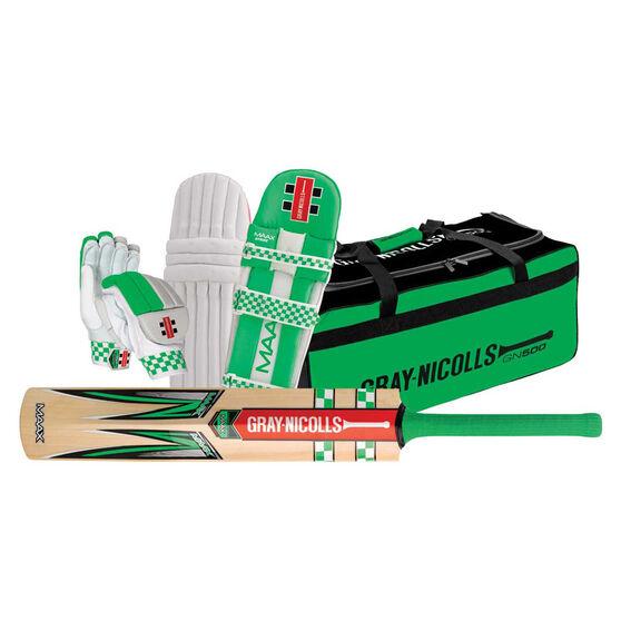 Gray Nicolls Maax Strike Junior Cricket Set White / Green Youth Left Hand, White / Green, rebel_hi-res