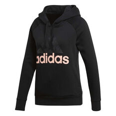 adidas Womens Essentials Linear Fleece Hoodie Black / Coral XS, , rebel_hi-res