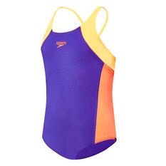 Speedo Girls Splice Cross Back Swimsuit Purple / Orange 6, Purple / Orange, rebel_hi-res