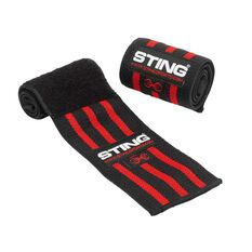 Sting 18in Elasticised Lifting Wrist Wraps Black / Red 18in, , rebel_hi-res