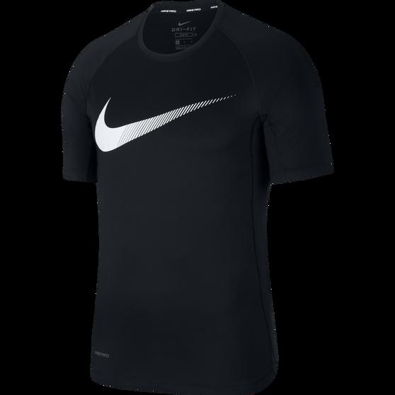 Nike Mens Pro Graphic Tee, Black / White, rebel_hi-res