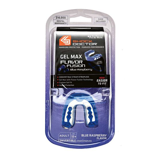 Shock Doctor Gel Max Raspberry Flavour Fusion Mouthguard, Blue, rebel_hi-res