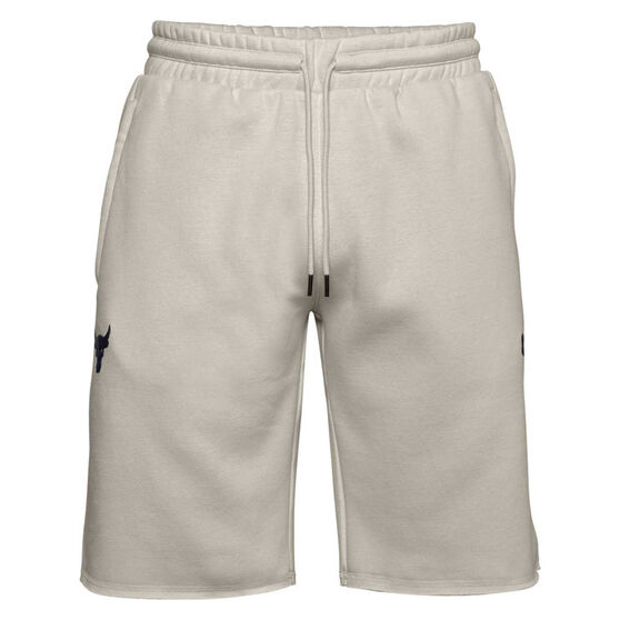 Under Armour Mens Project Rock Charged Cotton Fleece Shorts, White, rebel_hi-res
