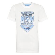 NSW Blues State of Origin 2020 Kids Whatever It Takes Tee White 8, White, rebel_hi-res